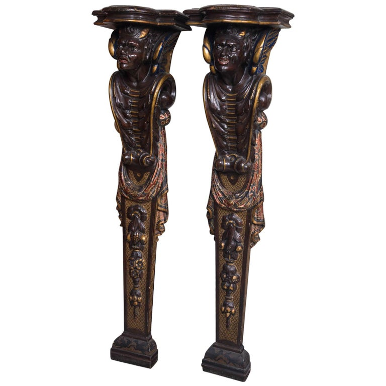 """Pair of Carved and Painted Wood """"Devilish"""" Pilasters For Sale"""