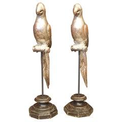 Pair of Carved and Silvered Italian Parrots on Stands, 20th Century