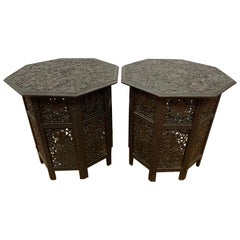 Pair of Carved Anglo Indian Octagonal Folding Tables