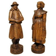 Pair of Carved Antique Breton Figures, Brittany France, Early 1900s