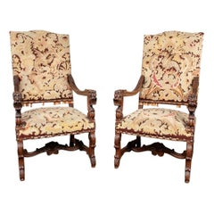 Pair of Carved Antique Hall Chairs with Tapestry Upholstery