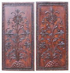 Pair of Carved Antique Hardwood Panels