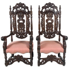 Pair of Oak Carved Armchairs