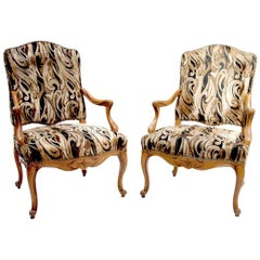Pair of Carved Beech Louis XV Style Armchairs, 20th Century
