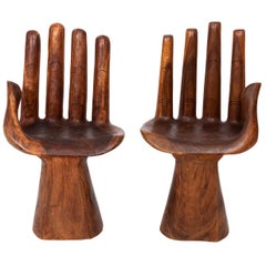 Pair of Carved Brazilian Hand Chairs