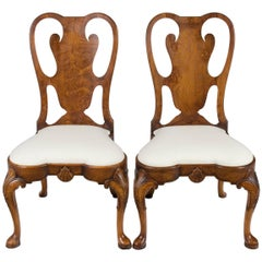 Pair of Carved Burl Walnut Queen Anne Style Dining Room Chairs