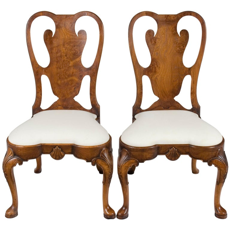 Pair Of Carved Burl Walnut Queen Anne Style Dining Room Chairs For Sale