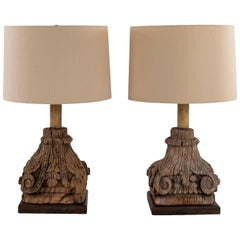 Pair of Carved Capital Table Lamps