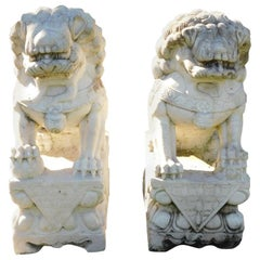 Pair of Carved Chinese Marble Foo Dogs Sitting on Decorative Plinths, 20th Cent