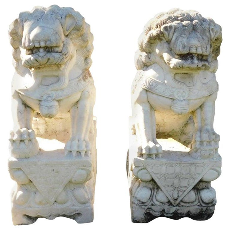 Pair of Carved Chinese Marble Foo Dogs Sitting on Decorative Plinths, 20th Cent For Sale