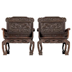 Pair of Carved Chinese Zitan Throne Chairs with Dragon Motifs