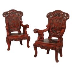 Pair of Carved Cinnabar Lacquer Throne Chairs