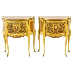 Pair of Carved Demilune Side Tables