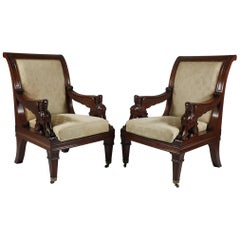 Pair of Carved Egyptian Revival Armchairs