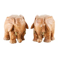 Pair of Carved Elephant Drink Table Sculptures