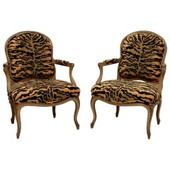 Pair of Carved French Armchairs with Animal Print Upholstery
