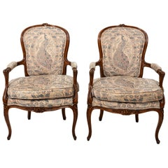 Pair of Carved French Rococo Style Armchairs