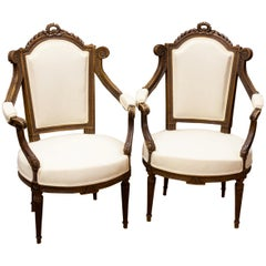 Pair of Carved French Walnut Upholstered Armchairs