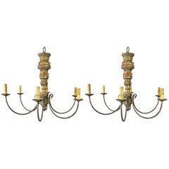 Pair of Carved Gilt Antique Candlestick Chandeliers