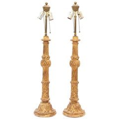 Pair of Carved Giltwood Columnar Lamps