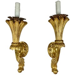 Pair of Carved Giltwood Sconces