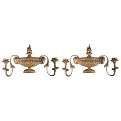 Pair of Carved Giltwood Two-Arm Sconces