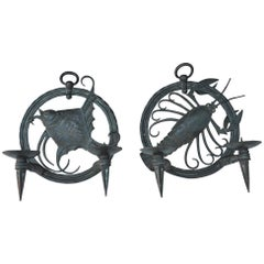 Pair of Carved  Iron Sconces signed RG