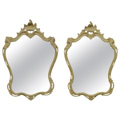 Pair of Carved Italian Cartouche Mirrors in Gesso