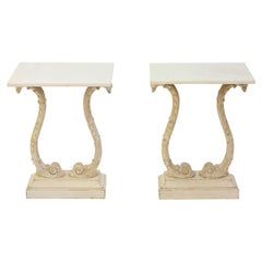 Pair of Carved Italian End Tables