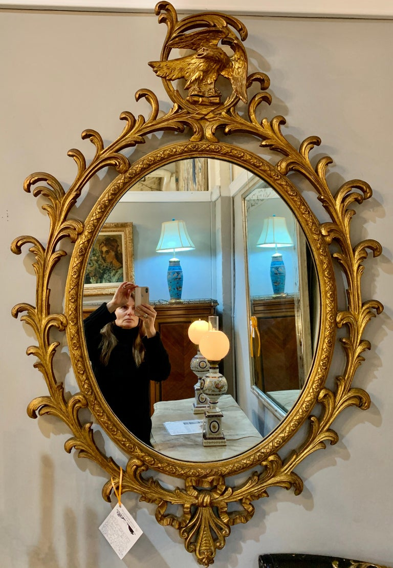 Pair of Carved Italian Gilt Decorated Carved Eagle Frame Wall Console Mirrors For Sale 4