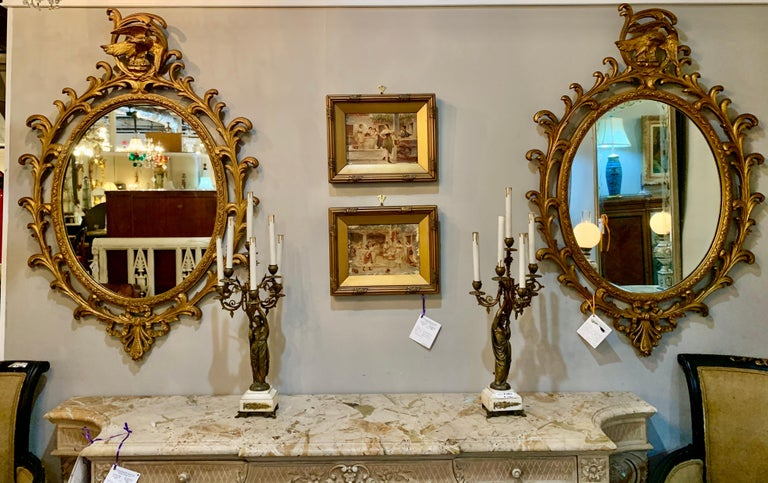 Baroque Pair of Carved Italian Gilt Decorated Carved Eagle Frame Wall Console Mirrors For Sale