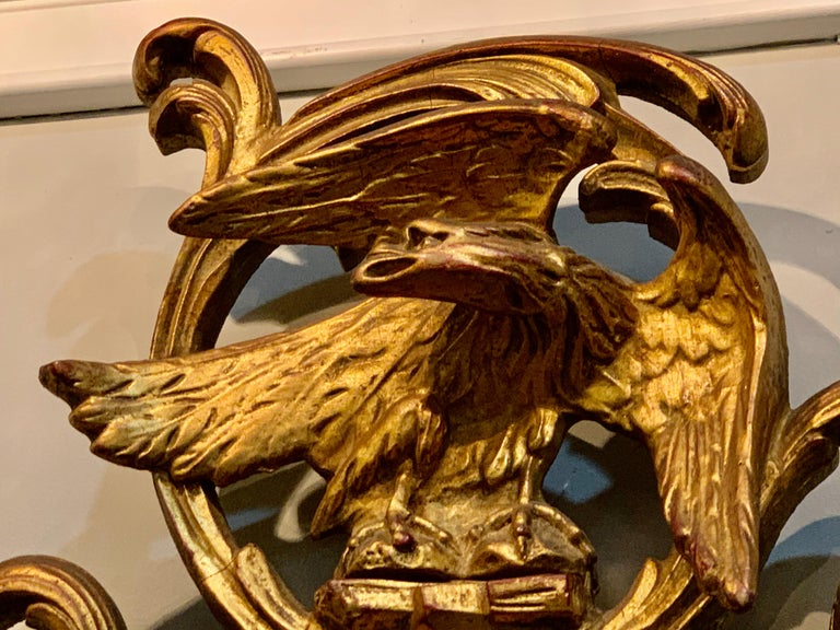 Pair of Carved Italian Gilt Decorated Carved Eagle Frame Wall Console Mirrors In Good Condition For Sale In Stamford, CT