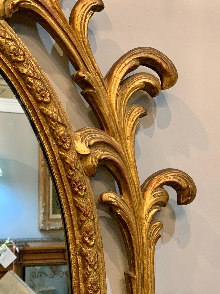 Pair of Carved Italian Gilt Decorated Carved Eagle Frame Wall Console Mirrors For Sale 3