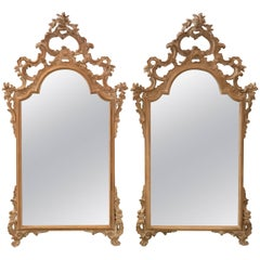 Pair of Carved Italian Rococo Mirrors