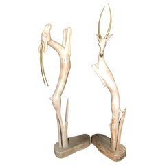Pair of Carved Life-Size Gazelles