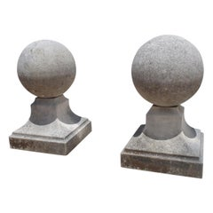 Pair of Carved Limestone Ball Finials from Italy