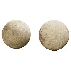 Pair of Carved Limestone Garden Spheres from Italy