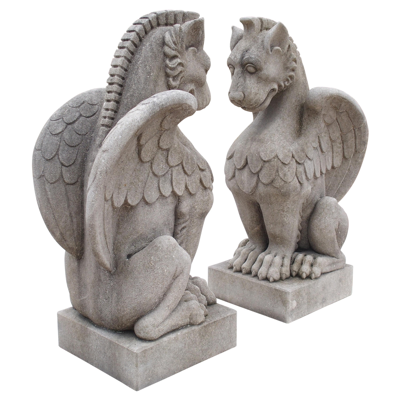 Pair of Carved Limestone Gargoyle Statues