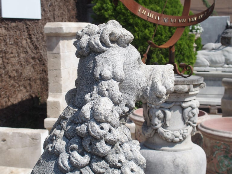Pair of Carved Limestone Poodles from Italy 6