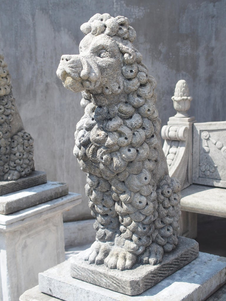Italian Pair of Carved Limestone Poodles from Italy