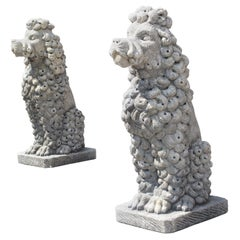 Pair of Carved Limestone Poodles from Italy