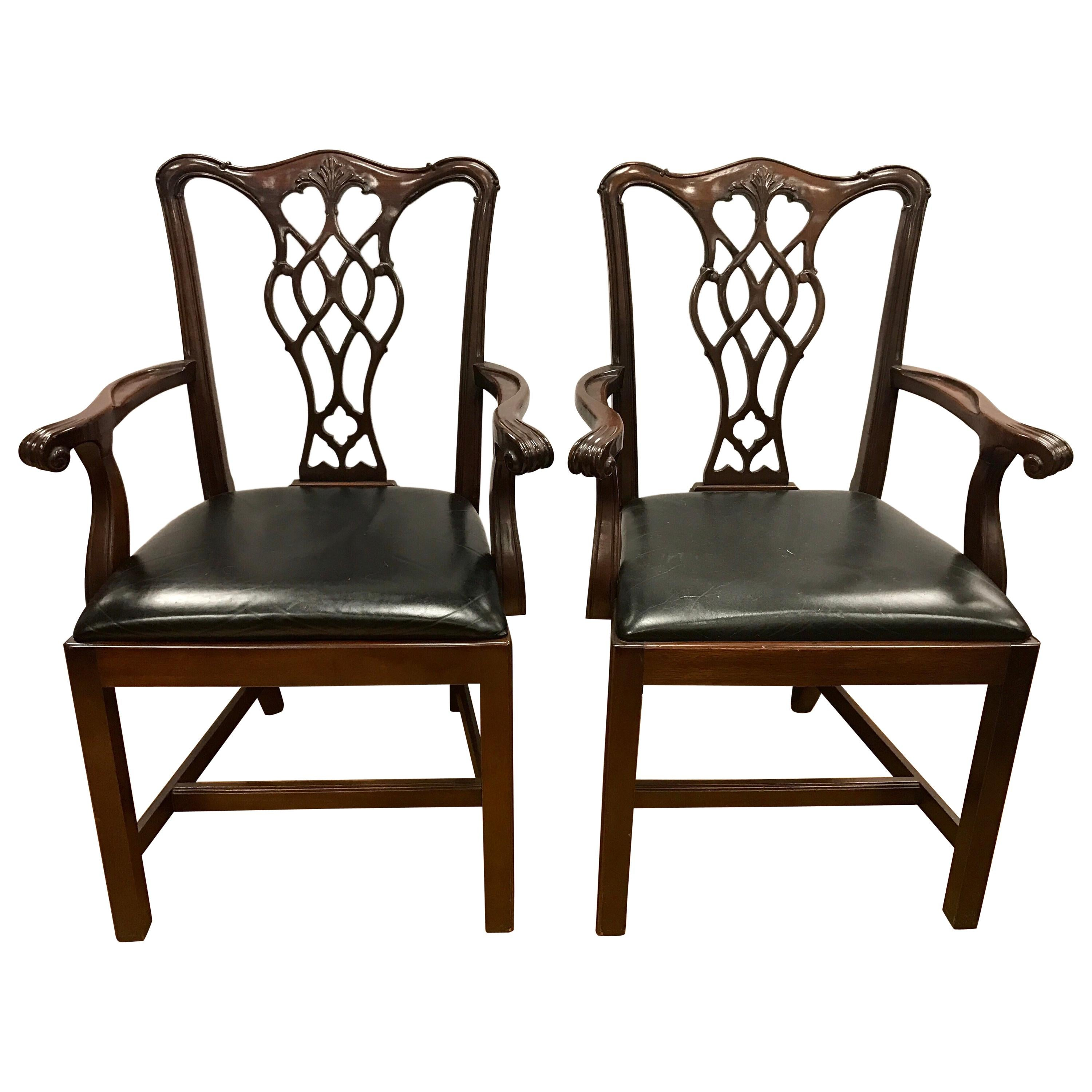 Pair of Carved Mahogany Chippendale Armchairs
