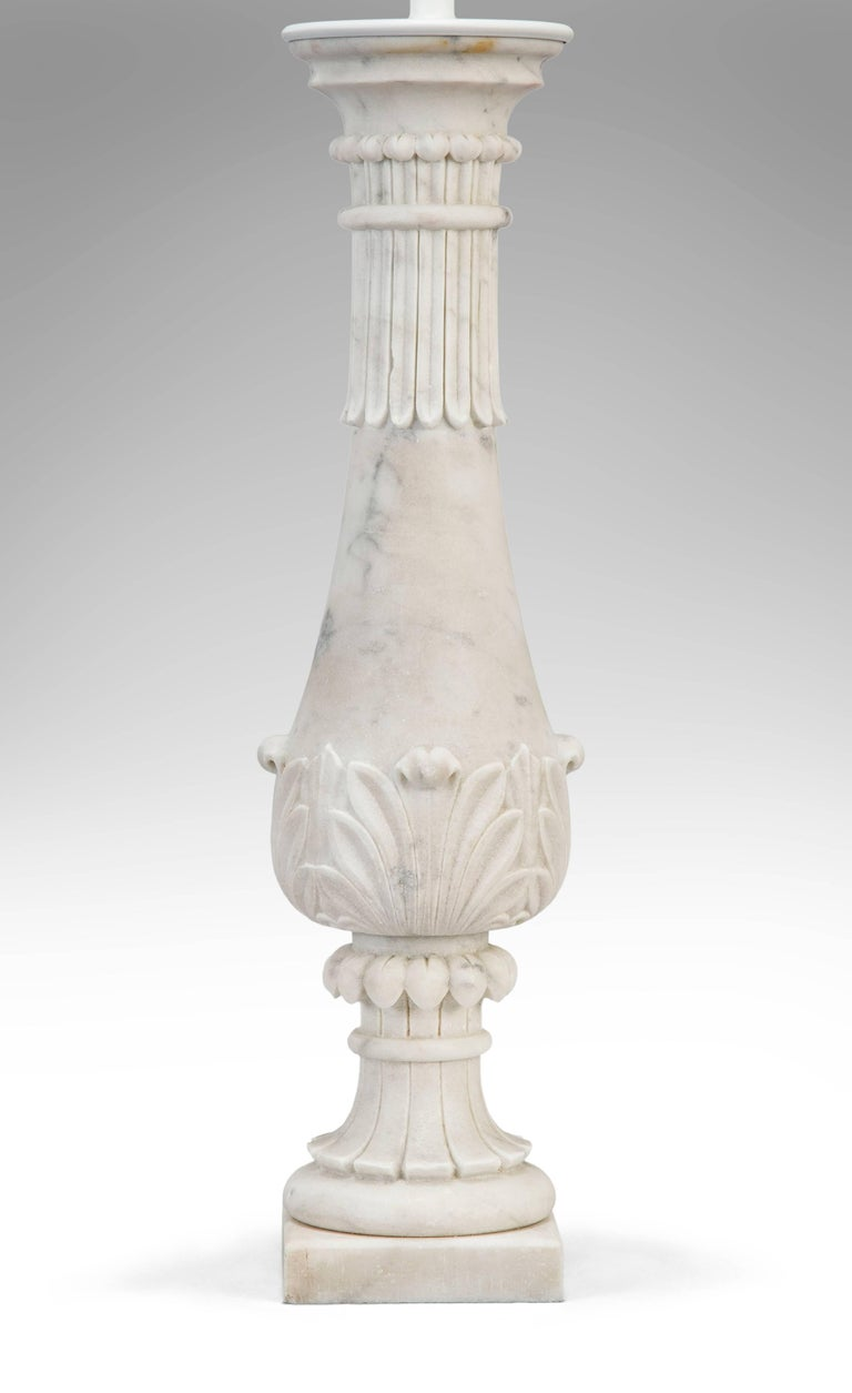 European Pair of Carved Marble Baluster Lamps For Sale