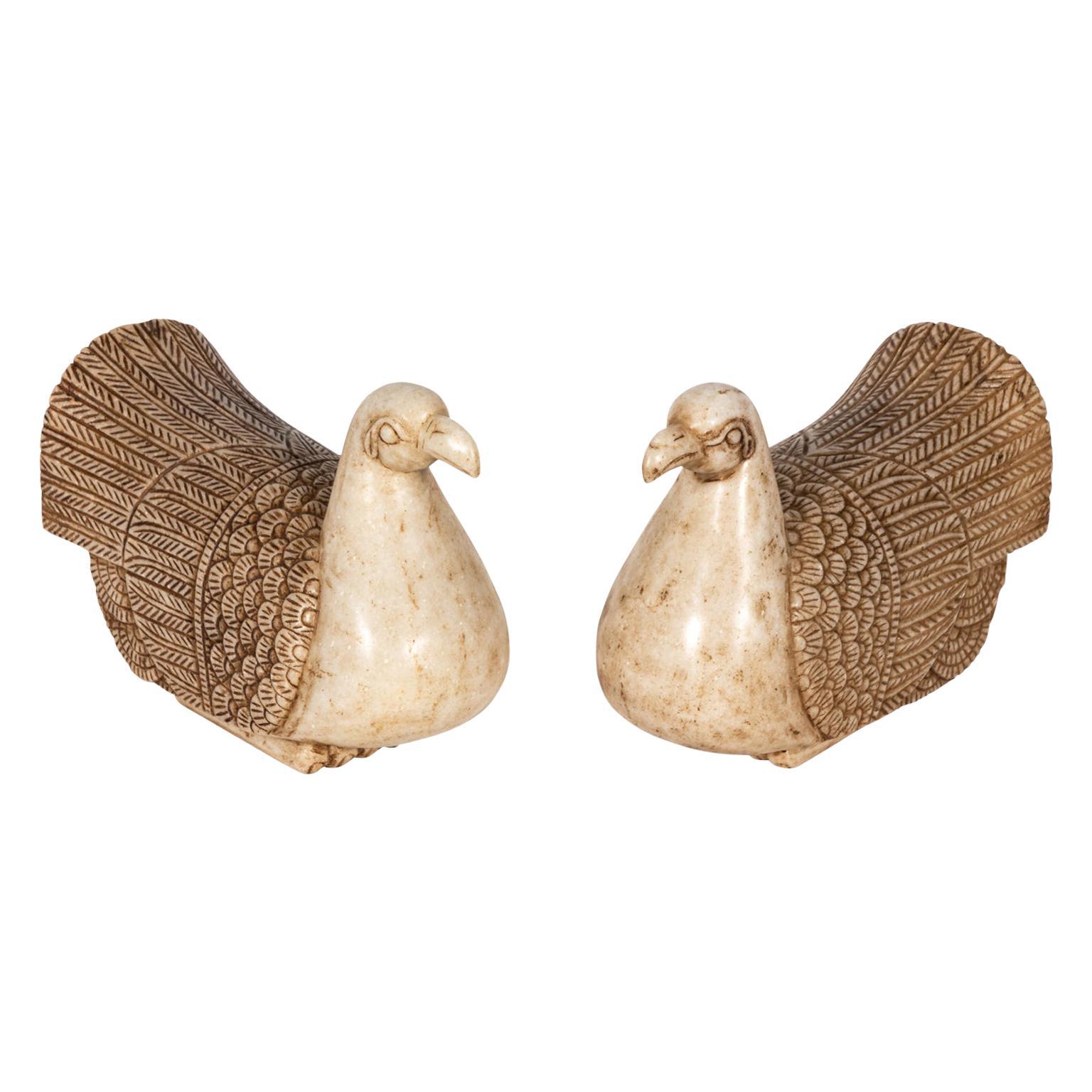 Pair of Carved Marble Ducks