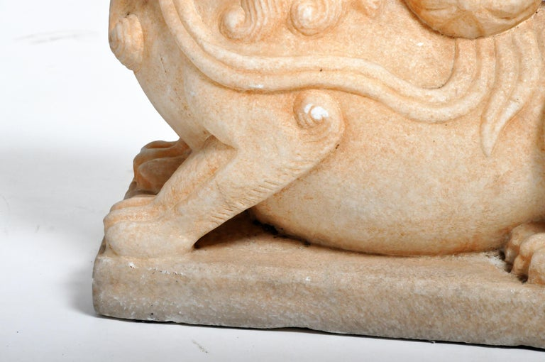 Pair of Carved Marble Fu Dogs on Pedestal For Sale 6