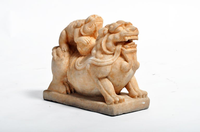Pair of Carved Marble Fu Dogs on Pedestal For Sale 10