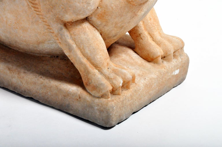 Pair of Carved Marble Fu Dogs on Pedestal For Sale 12