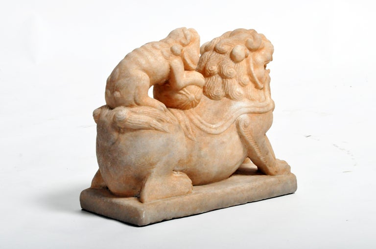 Pair of Carved Marble Fu Dogs on Pedestal For Sale 14