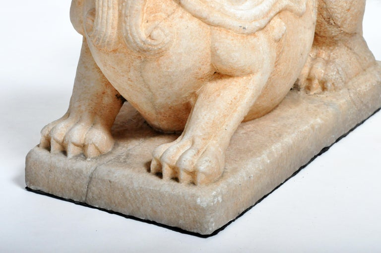 Pair of Carved Marble Fu Dogs on Pedestal For Sale 1