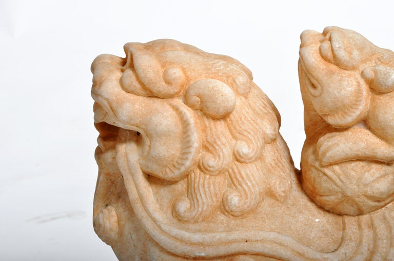 Pair of Carved Marble Fu Dogs on Pedestal For Sale 3